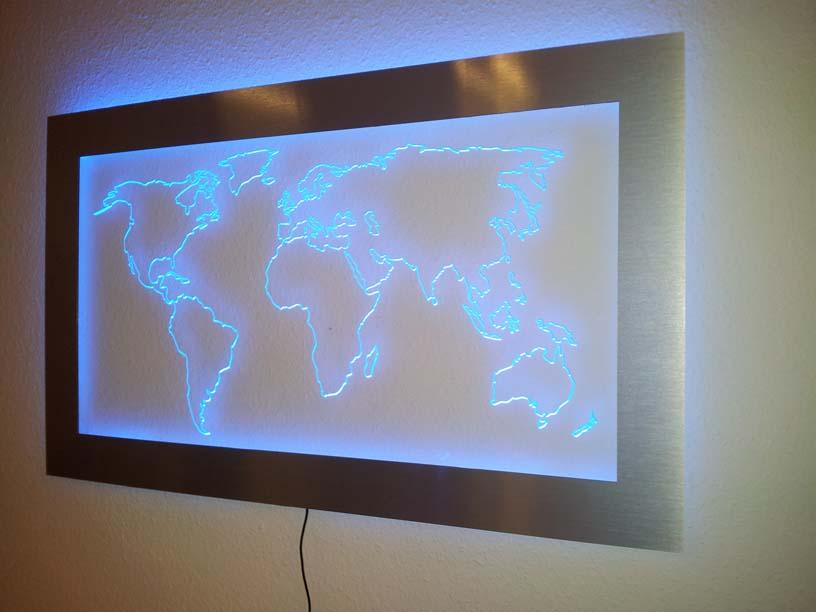 acrylglas bilderrahmen plexiglas wechselrahmen acrylrahmen rahmenlos acrylweltkarten mit led. Black Bedroom Furniture Sets. Home Design Ideas